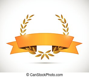 gold laurel and orange ribbon