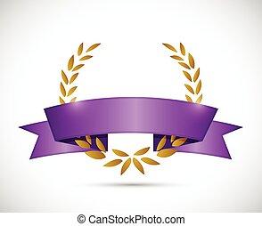 gold laurel and purple ribbon
