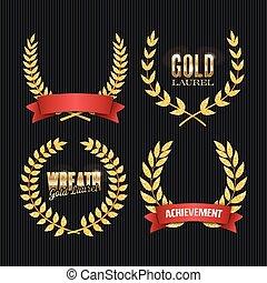 Gold Laurel Vector. Set Shine Wreath Award Design. Place For Text