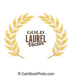 Gold Laurel Vector. Shine Wreath Award Design
