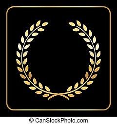 Gold laurel wheat wreath icon black