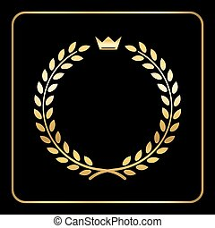 Gold laurel wheat wreath icon crown