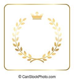 Gold laurel wheat wreath icon