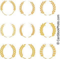 Gold laurel wreath - a symbol of the winner. Wheat ears or rice icons set.