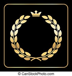 Gold laurel wreath black