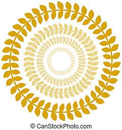 Gold Laurel Wreath Circle Set - An image of a gold laurel...
