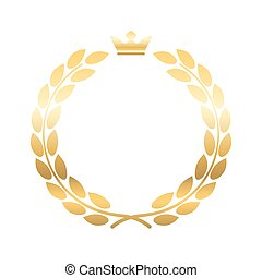 Gold laurel wreath crown emblem