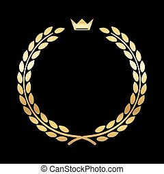 Gold laurel wreath crown leaf