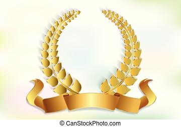 Gold laurel wreath decoration logo - Gold medal laurel...