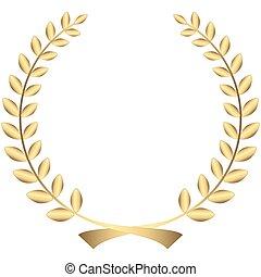 gold laurel wreath - golden laurel wreath isolated on white...