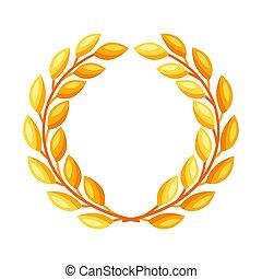 Gold laurel wreath.