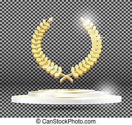 Gold Laurel Wreath on Podium on Transparent Background.