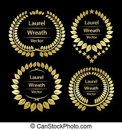 Gold laurel wreath template frame