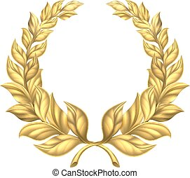 Gold Laurel Wreath - A golden laurel wreath design element...