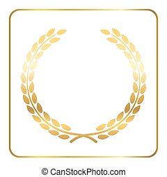 Gold laurel wreath white