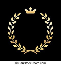 Gold laurel wreath with crown