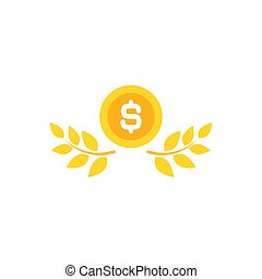Gold Laurel Wreath with dollar coin. Vector Flat illustration isolated on white.