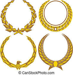 Gold Laurels - A set of four golden laurel wreaths