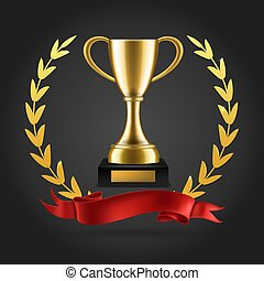Gold laurels and trophy. Realistic winner 3d award emblem with ribbon and cup isolated vector background