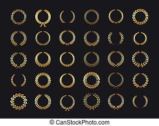 Gold laurels wreaths. Golden laurel foliate wheat olive oak wreath laurel leaves winner award heraldry sticker vector black background