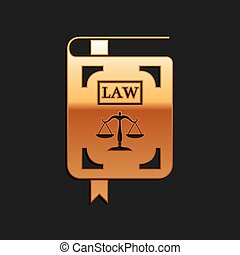 Gold Law book statute book with scales of justice icon isolated on black background. Long shadow style. Vector