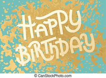 Gold leaf boho chic style Birthday greeting card with shiny glitter splash and custom golden lettering
