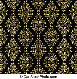 gold leaf pattern on a black background