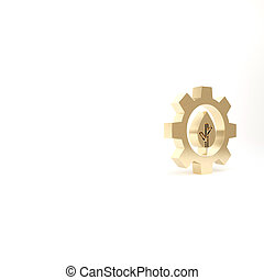 Gold Leaf plant ecology in gear machine icon isolated on white background. Eco friendly technology. World Environment day label. 3d illustration 3D render