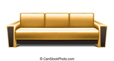 Gold leather sofa isolated on white background