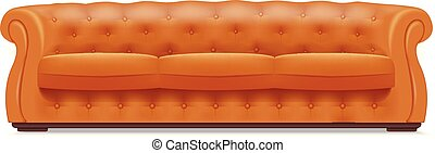Gold leather sofa icon, realistic style