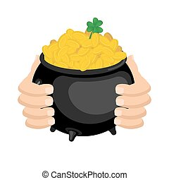 Gold leprechaun. St. Patrick's Day national holiday in Ireland. Pot of golden coins. Traditional Irish Festival