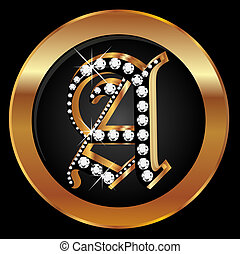 Gold letter A with diamonds