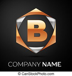 Gold Letter B logo symbol in the colorful golden-silver...