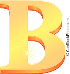 Gold letter B vector icon - Vector illustration of a gold...
