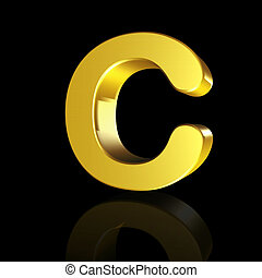 Gold letter C in 3D
