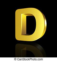 Gold letter D in 3D