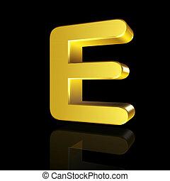 Gold letter E in 3D