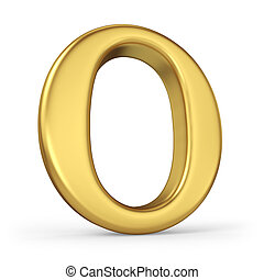 Gold Letter O Isolated on White