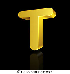 Gold letter T in 3D