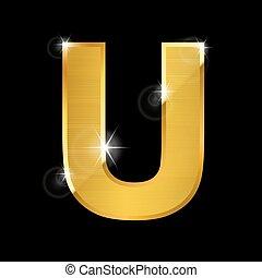gold  letter U on black