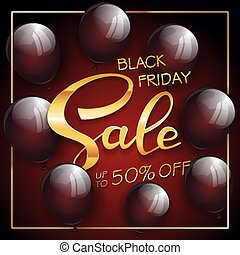 Gold lettering Black Friday Sale on red and black background