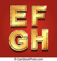 Gold letters alphabet font style. E F G H Vector