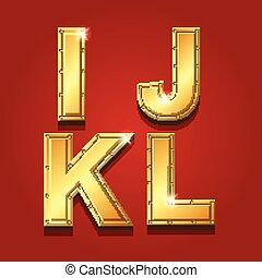 Gold letters alphabet font style. I J K L Vector