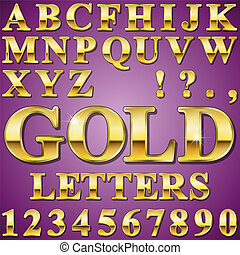 Gold Letters - An Alphabet Sit of Shiny Gold Metal Letters...