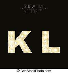 Gold letters K and L with sparkling light bulbs and a pattern. Alphabet for presentations and shows. Realistic vector illustration in 3d style