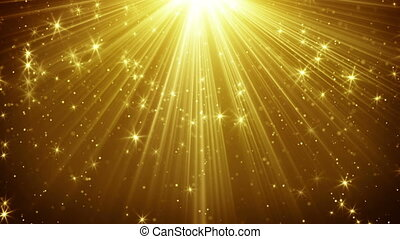 gold light rays and stars loopable background