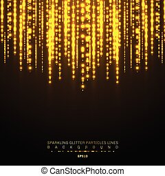 Gold lights shiny vertical line glitters holiday festival on dark background. Golden christmas confetti shining lights pattern. Magic rain of sparkling glitter particles lines