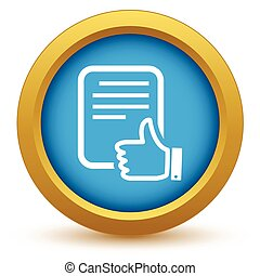 Gold like document icon on a white background. Vector illustration