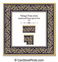 gold, lila, weinlese, rahmen, königlich, spirale, rebe, 3d