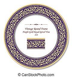 gold, lila, weinlese, rahmen, königlich, spirale, rebe, retro, runder